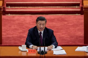 Chinese President Xi Jinping (C) delivers a speech during a ceremony to honour people who fought against the COVID-19 coronavirus pandemic, at the Great Hall of the People in Beijing on September 8, 2020. (Photo by NICOLAS ASFOURI / AFP) (Photo by NICOLAS ASFOURI/AFP via Getty Images)