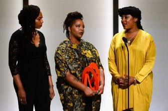 LOS ANGELES, CA - NOVEMBER 14:  (L-R) Honorees Opal Tometi, Patrisse Cullors, and Alicia Garza accept an award onstage during Glamour Women Of The Year 2016 at NeueHouse Hollywood on November 14, 2016 in Los Angeles, California.  (Photo by Kevork Djansezian/Getty Images for Glamour)