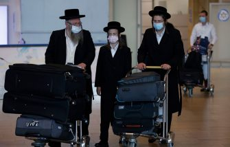 Ultra-Orthodox Jews wearing protective masks due to the COVID-19 pandemic, return to Israel from Belarus and Ukraine at Ben Gurion Airport near Tel Avivon September 21, 2020. - Zeev Elkin, Israel's Minister for Higher Education and Water, who is Ukrainian-born, called upon Hasidic Jews hoping to enter Ukraine through Belarus for a pilgrimage to return home, after efforts to enable their access despite coronavirus restrictions failed. Tens of thousands of Hasidic Jews head to Uman every Jewish New Year -- which falls on September 18-20 this year --  to visit the tomb of Rabbi Nahman, the founder of the Breslov Hasidic movement. (Photo by MENAHEM KAHANA / AFP) (Photo by MENAHEM KAHANA/AFP via Getty Images)