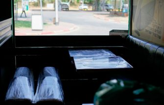 A picture taken on September 23, 2020, shows a benches and tables wrapped in plastic wrap at a restaurant, closed for dine-in and instead relying on delivery service, near the northern Israeli city of Kiryat Shmona in the upper Galilee area, during the new nationwide coronavirus lockdown. - Israel imposed a second nationwide lockdown on September 18 to tackle one of the world's highest coronavirus infection rates, hours before the Jewish holiday season begins. The virus has killed 1,169 people out of a population of nine million. (Photo by JALAA MAREY / AFP) (Photo by JALAA MAREY/AFP via Getty Images)