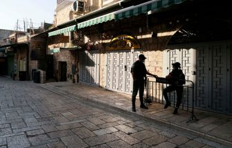 Israeli policemen wearing protective masks due to the COVID-19 pandemic, monitor a street lined with closed shops in Jerusalem's old city, on September 19, 2020, amid lockdown due to a spike in infection cases. - Israel imposed a second nationwide lockdown to tackle one of the world's highest coronavirus infection rates, despite public protests over the new blow to the economy. The three-week shutdown from yesterday just hours before Rosh Hashana, the Jewish New Year, and will extend through other key religious holidays, including Yom Kippur and Sukkot. (Photo by MENAHEM KAHANA / AFP) (Photo by MENAHEM KAHANA/AFP via Getty Images)
