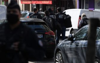 French judiciary police investigators cordon off the scene, after several people were injured near the former offices of the French satirical magazine Charlie Hebdo following an attack by a man wielding a knife in the capital Paris on September 25, 2020. - Four people were injured, two seriously, in a knife attack in Paris on September 25, 2020, near the former offices of French satirical magazine Charlie Hebdo, a source close to the investigation told AFP. Two of the victims were in a critical condition, the Paris police department said, adding two suspects were on the run. The stabbing came as a trial was underway in the capital for alleged accomplices of the authors of the January 2015 attack on the Charlie Hebdo weekly that claimed 12 lives. (Photo by Alain JOCARD / AFP) (Photo by ALAIN JOCARD/AFP via Getty Images)