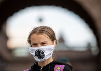 Swedish climate activist Greta Thunberg takes part in a Fridays For Future protest in front of the Swedish Parliament (Riksdagen) in Stockholm on September 25, 2020. (Photo by JONATHAN NACKSTRAND / AFP) (Photo by JONATHAN NACKSTRAND/AFP via Getty Images)