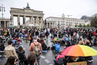 """BERLIN, GERMANY - SEPTEMBER 25: Climate activists gather on a """"Global Day of Action"""" organized by the Fridays for Future climate change movement during the coronavirus pandemic on September 25, 2020 in Berlin, Germany. Activists are taking to the streets across the globe today in the largest climate change protest day since the beginning of the pandemic. They are demanding immediate and global shifts in policies in order to rein in the effects of human-induced global warming. (Photo by Omer Messinger/Getty Images)"""