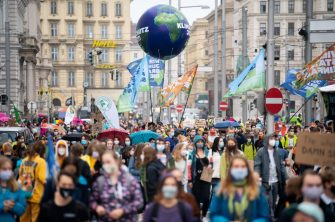 Environmentalists of the Fridays for Future movement demonstrate during a global day of climate action on September 25, 2020 in Vienna, Austria. (Photo by GEORG HOCHMUTH / APA / AFP) / Austria OUT (Photo by GEORG HOCHMUTH/APA/AFP via Getty Images)