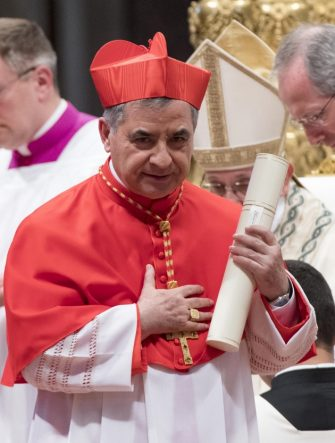 Substitute of the Vatican Secretary of State and Special Delegate for the Sovereign Military Order of Malta from Italy, Giovanni Angelo Becciu, during the Ordinary Public Consistory to create 14 new cardinal from 11 countries in Saint Peters Basilica at the Vatican, 28 Jun 2018. The cardinals-designate are from Bolivia, Iraq, Italy, Japan, Pakistan, Poland, Portugal, Peru, Madagascar, Mexico and Spain. ANSA/CLAUDIO PERI