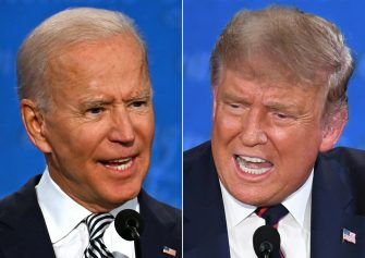 (COMBO) This combination of pictures created on September 29, 2020 shows Democratic Presidential candidate and former US Vice President Joe Biden (L) and US President Donald Trump speaking during the first presidential debate at the Case Western Reserve University and Cleveland Clinic in Cleveland, Ohio on September 29, 2020. (Photos by JIM WATSON and SAUL LOEB / AFP) (Photo by JIM WATSON,SAUL LOEB/AFP via Getty Images)