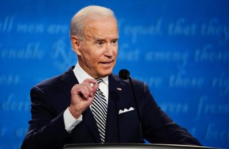 epa08707106 Democratic presidential candidate Joe Biden participates in the first 2020 presidential election debate at Samson Pavilion in Cleveland, Ohio, USA, 29 September 2020. The first presidential debate is co-hosted by Case Western Reserve University and the Cleveland Clinic.  EPA/JIM LO SCALZO