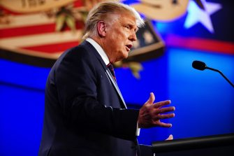 epa08707109 US President Donald J. Trump participates in the first 2020 presidential election debate at Samson Pavilion in Cleveland, Ohio, USA, 29 September 2020. The first presidential debate is co-hosted by Case Western Reserve University and the Cleveland Clinic.  EPA/JIM LO SCALZO