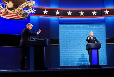 epa08707264 US President Donald J. Trump (L) and Democratic presidential candidate Joe Biden (R) participate in the first 2020 presidential election debate at Samson Pavilion in Cleveland, Ohio, USA, 29 September 2020. The first presidential debate is co-hosted by Case Western Reserve University and the Cleveland Clinic.  EPA/JIM LO SCALZO
