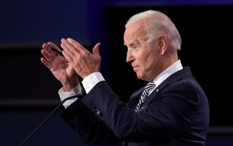 CLEVELAND, OHIO - SEPTEMBER 29:  Democratic presidential nominee Joe Biden participates in the first presidential debate against U.S. President Donald Trump at the Health Education Campus of Case Western Reserve University on September 29, 2020 in Cleveland, Ohio. This is the first of three planned debates between the two candidates in the lead up to the election on November 3. (Photo by Win McNamee/Getty Images)
