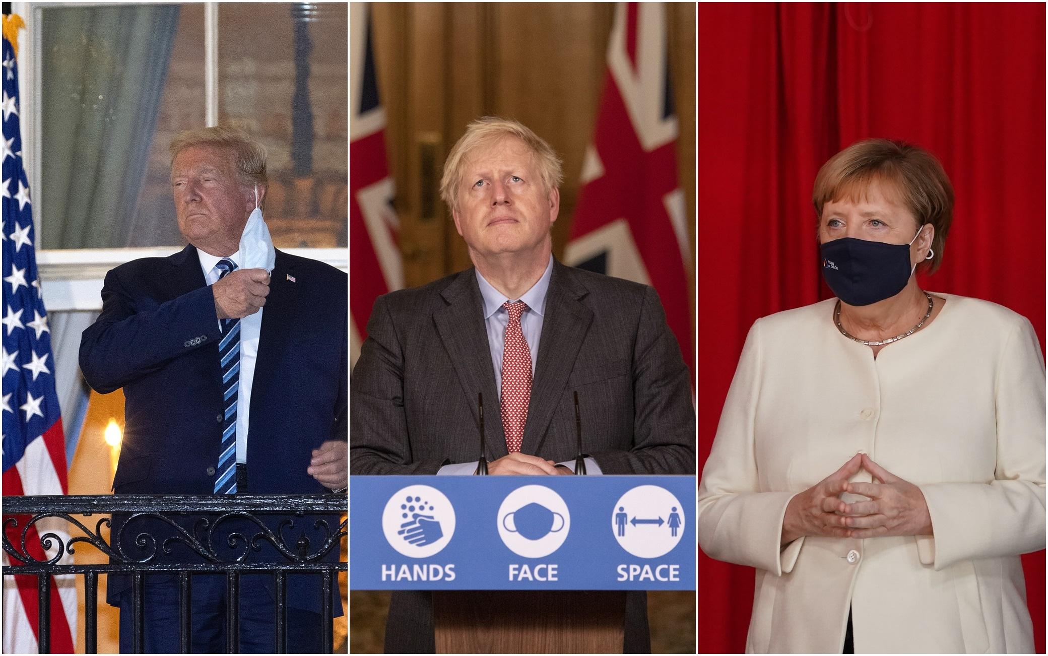 Trump, Johnson, Merkel