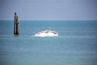 CANCUN, MEXICO - OCTOBER 8: A boat remains stranded near 'Playa Tortuga' on October 8, 2020 in Cancun, Mexico. Hurricane Delta made landfall in the Mexican east coast in the morning of Wednesday October 07, between Cancún and Playa del Carmen, forcing evacuations in touristic areas. Governors of regions of Quintana Roo and Yucatán reported no deaths or major damage to the infrastructure. The powerful category 2 storm is expected to increase its power as it approaches the US Gulf coast. American National Hurricane Center informed Delta will move inland by late Friday 09. (Photo by Harold Alcocer/MediosyMedia/Getty Images)