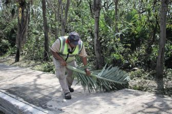 CANCUN, MEXICO - OCTOBER 8: A member of the municipality cleaning staff moves debris from Hurricane Delta at Kukulkan Boulevard on October 8, 2020 in Cancun, Mexico. Hurricane Delta made landfall in the Mexican east coast in the morning of Wednesday October 07, between Cancún and Playa del Carmen, forcing evacuations in touristic areas. Governors of regions of Quintana Roo and Yucatán reported no deaths or major damage to the infrastructure. The powerful category 2 storm is expected to increase its power as it approaches the US Gulf coast. American National Hurricane Center informed Delta will move inland by late Friday 09. (Photo by Harold Alcocer/MediosyMedia/Getty Images)