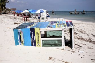 CANCUN, MEXICO - OCTOBER 8: Wrecked ferry ticket booth lies destroyed by Hurricane Delta in 'Playa Tortuga' on October 8, 2020 in Cancun, Mexico. Hurricane Delta made landfall in the Mexican east coast in the morning of Wednesday October 07, between Cancún and Playa del Carmen, forcing evacuations in touristic areas. Governors of regions of Quintana Roo and Yucatán reported no deaths or major damage to the infrastructure. The powerful category 2 storm is expected to increase its power as it approaches the US Gulf coast. American National Hurricane Center informed Delta will move inland by late Friday 09. (Photo by Harold Alcocer/MediosyMedia/Getty Images)