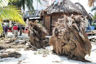 CANCUN, MEXICO - OCTOBER 8: Wretched thatch umbrellas lie by a seaside resort destroyed by Hurricane Delta at 'Playa Tortuga' on October 8, 2020 in Cancun, Mexico. Hurricane Delta made landfall in the Mexican east coast in the morning of Wednesday October 07, between Cancún and Playa del Carmen, forcing evacuations in touristic areas. Governors of regions of Quintana Roo and Yucatán reported no deaths or major damage to the infrastructure. The powerful category 2 storm is expected to increase its power as it approaches the US Gulf coast. American National Hurricane Center informed Delta will move inland by late Friday 09. (Photo by Harold Alcocer/MediosyMedia/Getty Images)