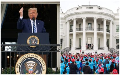 Usa 2020, Trump parla alla Casa Bianca davanti a una piccola folla