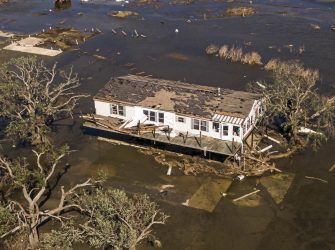 epa08735060 A photo made with a drone shows damaged property in Cameron, Louisiana, USA, 10 October 2020. Hurricane Delta came ashore nearby causing widespread damage and power outages to hundreds of thousands of people in Louisiana, Texas and Mississippi just six weeks after Hurricane Laura caused wiidespread damage.  EPA/TANNEN MAURY
