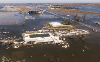 epa08735059 A photo made with a drone shows damaged property in Cameron, Louisiana, USA, 10 October 2020. Hurricane Delta came ashore nearby causing widespread damage and power outages to hundreds of thousands of people in Louisiana, Texas and Mississippi just six weeks after Hurricane Laura caused wiidespread damage.  EPA/TANNEN MAURY