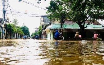 epa08739574 A general photo shows a flooded street in Hue, Vietnam, 11 October 2020 (issued 13 October 2020). Heavy rains and floods killed at least 23 people in northern and central Vietnam during the past few days, according to media reports.  EPA/STR VIETNAM OUT
