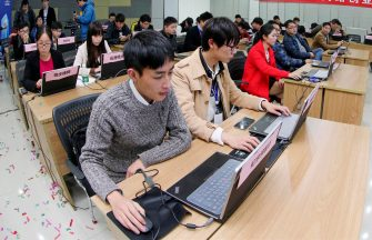 """(161111) -- TAIZHOU, Nov. 11, 2016 (Xinhua) -- Staff members of an e-commerce company handle the orders at an industrial park in Taizhou City, east China's Jiangsu Province, Nov. 11, 2016. The e-commerce companies and courier services are scrambling to deal with the orders placed during the Singles Day shopping spree. Singles Day, which started as an """"anti-Valentine's"""" celebration for single people in China back in the 1990s, was adopted by China's e-commerce giant Alibaba in 2009 and has since become the world's biggest online shopping day.  (Xinhua/Tang Dehong)(wsw) (Photo by Xinhua/Sipa USA) (Xinhua / IPA/Fotogramma, Taizhou - 2016-11-11) p.s. la foto e' utilizzabile nel rispetto del contesto in cui e' stata scattata, e senza intento diffamatorio del decoro delle persone rappresentate"""