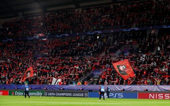 RENNES, FRANCE - OCTOBER 20: Fans of Stade Rennais FC enjoy the atmosphere during the UEFA Champions League Group E stage match between Stade Rennais and FC Krasnodar at Roazhon Park on October 20, 2020 in Rennes, France. (Photo by Catherine Steenkeste/Getty Images)