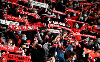 Rennes' supporters wave scarfs before the UEFA Europa League Group E first-leg football match between Stade Rennais FC and FK Krasnodar at the Roazhon Park stadium in Rennes, northwestern France, on October 20, 2020. (Photo by DAMIEN MEYER / AFP) (Photo by DAMIEN MEYER/AFP via Getty Images)