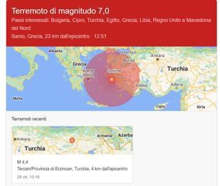 Forte terremoto tra Grecia e Turchia, scossa di magnitudo 7.0. Diretta