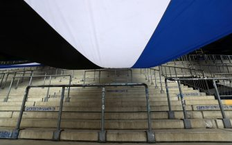 epa08788271  A general view of empty stands as regulations due to COVID-19 mean fans are not able to attend the German Bundesliga soccer match between DSC Arminia Bielefeld and Borussia Dortmund at Schueco Arena in Bielefeld, Germany, 31 October 2020. Sporting stadiums around Germany remain under strict restrictions due to the Coronavirus Pandemic as Government social distancing laws prohibit fans inside venues resulting in games being played behind closed doors.  EPA/Martin Rose / POOL DFL regulations prohibit any use of photographs as image sequences and/or quasi-video.