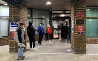 NEW YORK CITY, USA - NOVEMBER 3, 2020: People maintain social distancing at a polling station in Manhattan on Election Day. The USA elect a president and vice president, 35 Senators, all 435 members of the House of Representatives, 13 governors of 11 states and two US territories, as well as state and local government officials. Incumbent Republican President Donald Trump and Democratic Party nominee Joe Biden are running for president. Maria Khrenova/TASS/Sipa USA