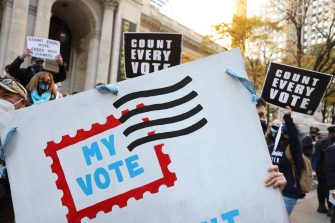 epaselect epa08799408 Demonstrators gather near Bryant Park and the New York Public Library to rally for ensuring that every ballot is counted in the 2020 Presidential election in New York, New York USA, 04 November, 2020. Counting of mail-in/absentee ballots in several states began on 03 November and is expected to stretch as far as 06 November.  EPA/JUSTIN LANE