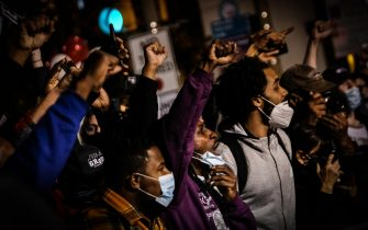 epa08802086 Black Lives Matter (BLM) demonstrators protest outside the vote counting center in Philadelphia, Pennsylvania, USA, 05 November 2020, USA. The 2020 US Presidential Election result remains undetermined as votes continued to be counted in several key states.  EPA/MARIO CRUZ