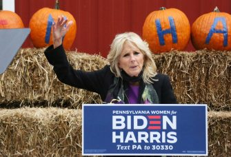 , Morrisville, PA - 20201019- Dr Jill Biden pictured at the Womenâ  s GOTV Event, on the last day to register to vote in the Commonwealth to mobilize voters and emphasize the importance of registering to vote and voting early at Snipes Farm and Education Center in Morrisville  -PICTURED: Dr Jill Biden -PHOTO by: Star Shooter/Media Punch/INSTARimages.com  This is an editorial, rights-managed image. Please contact Instar Images LLC for licensing fee and rights information at sales@instarimages.com or call +1 212 414 0207 This image may not be published in any way that is, or might be deemed to be, defamatory, libelous, pornographic, or obscene. Please consult our sales department for any clarification needed prior to publication and use. Instar Images LLC reserves the right to pursue unauthorized users of this material. If you are in violation of our intellectual property rights or copyright you may be liable for damages, loss of income, any profits you derive from the unauthorized use of this material and, where appropriate, the cost of collection and/or any statutory damages awarded (Morrisville - 2020-10-19, Star Shooter/Media Punch/INSTARimages.com / IPA) p.s. la foto e' utilizzabile nel rispetto del contesto in cui e' stata scattata, e senza intento diffamatorio del decoro delle persone rappresentate