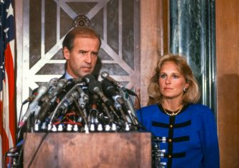 During a press conference, American politician US Senator Joseph Biden announces his withdrawal from the race for the Democratic Party nomination's for President of the United States, Washington DC, September 23, 1987. Beside him is his wife, teacher Jill Biden. (Photo by Arnie Sachs/CNP/Getty Images)