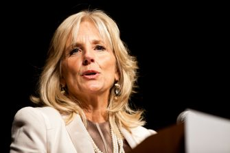 ALEXANDRIA, VA - NOVEMBER 04: Dr. Jill Biden, wife of Vice President Joe Biden, speaks to PFLAG members from across the U.S. at the 2011 PFLAG National Convention opening ceremony on November 4, 2011 in Alexandria, Virginia. (Photo by Brendan Hoffman/WireImage for PFLAG)