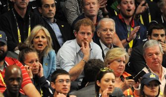 LAKE BUENA VISTA, FLORIDA - MAY 11:  Prince Harry, Unite States President Joe Biden and his wife Jill attend the Unite States and Denmark wheelchair Rugby Finals at the Invictus Games Orlando 2016 at the ESPN Wide Wordl of Sports Complex on May 11, 2016 in Lake Buena Vista, Florida. Unite States defead Denmark.  (Photo by Gerardo Mora/Getty Images for Invictus Games)