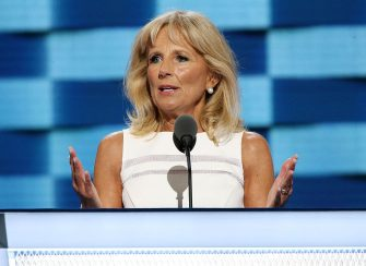 PHILADELPHIA, PA - JULY 27:  Dr. Jill Biden, wife of US Vice President Joe Biden, delivers remarks on the third day of the Democratic National Convention at the Wells Fargo Center on July 27, 2016 in Philadelphia, Pennsylvania. An estimated 50,000 people are expected in Philadelphia, including hundreds of protesters and members of the media. The four-day Democratic National Convention kicked off July 25.  (Photo by Paul Morigi/WireImage)