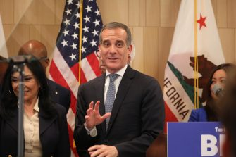 epa08270652 Mayor of Los Angeles Eric Garcetti attends an event with former US Vice President and Democratic presidential candidate Joe Biden (not pictured) a day after 'Super Tuesday' at the W Hotel in West Bevery Hills, in Los Angeles, California, USA, 04 March 2020.  EPA/DAVID SWANSON