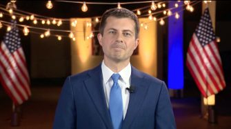 epa08615630 A framegrab from the Democratic National Convention Committee livestream showing former democratic candidate Pete Buttigieg speaking during the final night of the 2020 Democratic National Convention (DNC) in Milwaukee, Wisconsin, USA, 20 August 2020. The convention, which was expected to draw 50,000 people to the city, is now taking place virtually due to coronavirus pandemic concerns.  EPA/DNCC