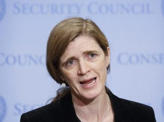 epa05682387 Ambassador Samantha Power, the United States Permanent Representative to the United Nations, talks with reporters after the United Nations Security Council voted to approve a resolution to send United Nations observers to witness the evacuation of people from the city of Aleppo, Syria, at United Nations headquarters in New York, New York, USA, 19 December 2016.  EPA/JUSTIN LANE