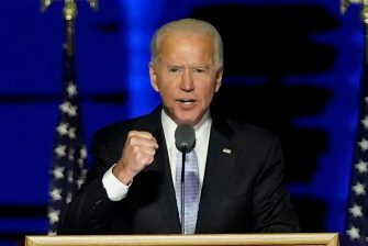 epa08806536 President-elect Joe Biden speaks during a celebratory event held outside of the Chase Center in Wilmington, Delaware, USA, 07 November 2020. According to media reports, Biden has defeated President Donald Trump in the 2020 USA presidential election to become the United Sates' 46th president.  EPA/ANDREW HARNIK / POOL