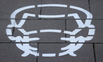 epa08811612 A pictogram indicating the wearing of a protective mask is painted on the pavement in the city centre of Duesseldorf, Germany, 10 November 2020. On 09 November the Administrative Court of Muenster decided that the general decree of the city of Duesseldorf concerning the obligation to wear masks in the city area is illegal. Throughout Germany, the number of cases of the COVID-19 disease caused by the SARS-CoV-2 coronavirus is rising.  EPA/FRIEDEMANN VOGEL