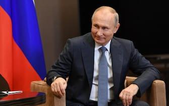 epa08815461 Russian President Vladimir Putin attends a meeting with Abkhazian President Aslan Bzhania (not pictured) in the Black sea resort of Sochi, Russia, 12 November 2020. Abkhazian President is on a working visit to Russia.  EPA/ALEXEI NIKOLSKY / SPUTNIK / KREMLIN POOL MANDATORY CREDIT