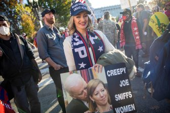 epa08820837 Supporters of US President Donald J. Trump rally near the US Capitol in Washington, DC, USA, 14 November 2020. US President Donald J. Trump has refused to concede the 2020 Presidential election to his Democratic challenger President Elect Joe Biden.  EPA/SHAWN THEW