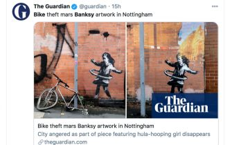 banksy nottingham bicicletta