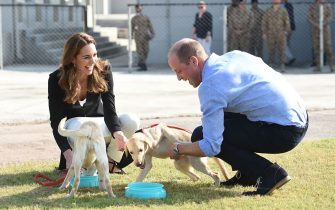 ISLA, PAKISTAN - OCTOBER 18:  (UK OUT FOR 28 DAYS) Catherine, Duchess of Cambridge visits an Army Canine Centre with Prince William, Duke of Cambridge, where the UK provides support to a programme that trains dogs to identify explosive devices, during day five of their royal tour of Pakistan on October 18, 2019 in Islamabad, Pakistan.  (Photo by Pool/Samir Hussein/WireImage)