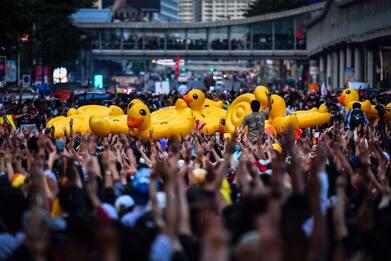 Thailandia, proteste contro il governo con papere gonfiabili. FOTO