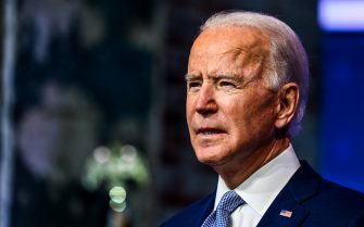 """US President-elect Joe Biden speaks during a cabinet announcement event in Wilmington, Delaware, on November 24, 2020. - US President-elect Joe Biden introduced November 24, 2020 a seasoned national security team he said was prepared to resume US leadership of the world after the departure of President Donald Trump. """"It's a team that will keep our country and our people safe and secure,"""" Biden said, introducing his picks for secretary of state, national security advisor, intelligence chief, and other key cabinet jobs""""It's a team that reflects the fact that America is back. Ready to lead the world, not retreat from it,"""" Biden said. (Photo by CHANDAN KHANNA / AFP)"""