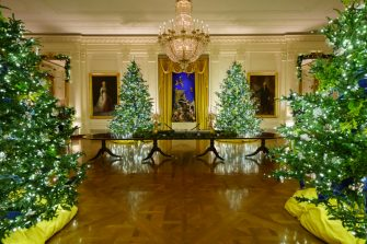 """WASHINGTON, DC - NOVEMBER 30: Christmas decorations are displayed in the East Room of the White House on November 30, 2020 in Washington, DC. This year's theme for the White House Christmas decorations is """"America the Beautiful."""" (Photo by Drew Angerer/Getty Images)"""