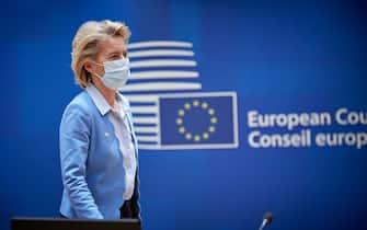 (200721) -- BRUSSELS, July 21, 2020 (Xinhua) -- European Commission President Ursula von der Leyen arrives for a special EU summit in Brussels, Belgium, July 20, 2020. Leaders of the European Union (EU) reached a landmark deal on Tuesday after four days of intensive negotiations over a budget for the next seven years and a massive recovery fund amid the COVID-19 pandemic. (European Union/Handout via Xinhua) -  -//CHINENOUVELLE_CHIN012820/2007211008/Credit:CHINE NOUVELLE/SIPA/2007211009 (Brussels - 2020-07-20, CHINE NOUVELLE/SIPA / IPA) p.s. la foto e' utilizzabile nel rispetto del contesto in cui e' stata scattata, e senza intento diffamatorio del decoro delle persone rappresentate